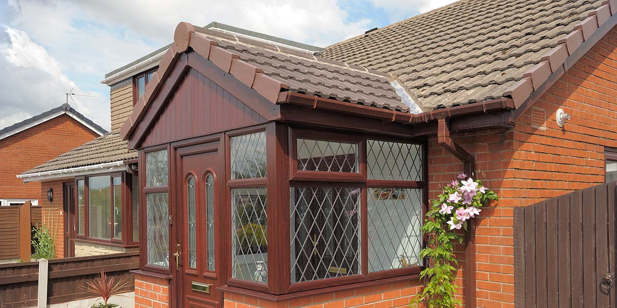 Entrance Porch in UPVC Rosewood