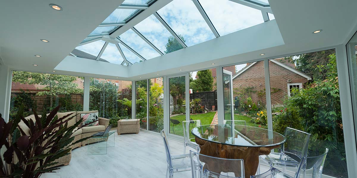 Modern White Conservatory With French Doors Permaframe