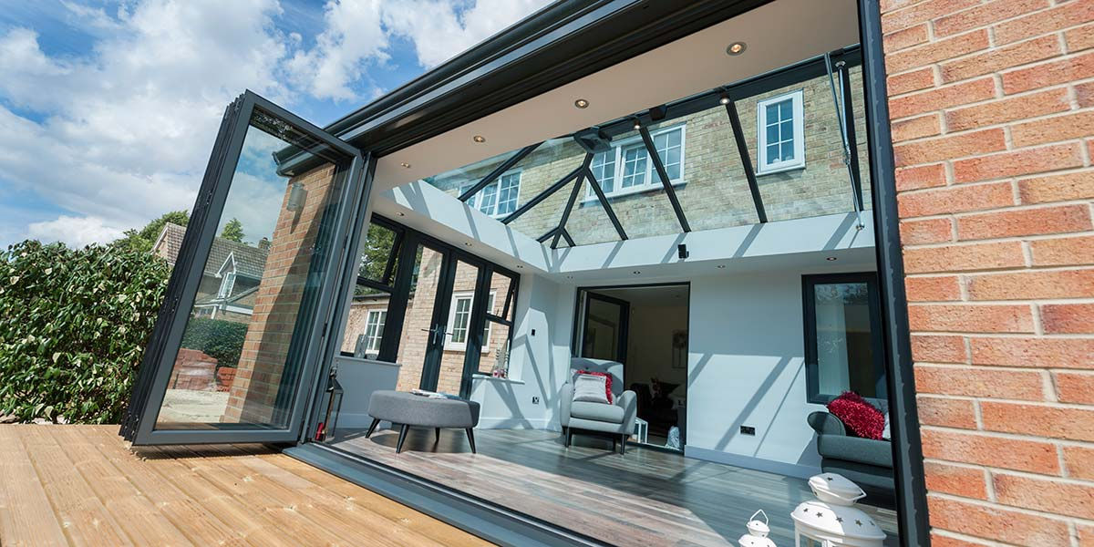 Large Grey Orangery with Bi-Folding Doors